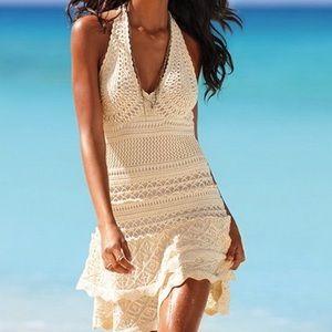 Moda International crochet halter ruffle dress